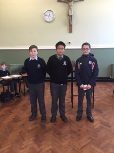 Aaron Norman (Chanel College), Xin Dacao (St. Mary's College) and Sean O Connor (CUS)